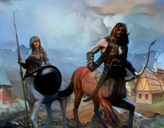 D&D Ranger backstory example image with two centaur rangers.